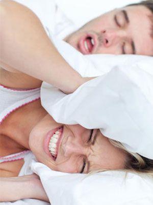 A man snoring loudly