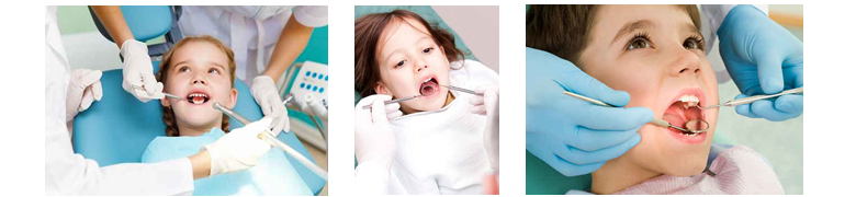 Photos of children being treated by dentist