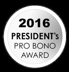 2016 president's pro bono award