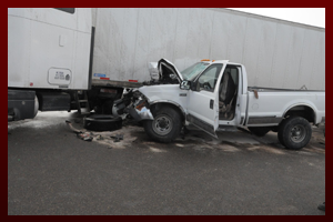 Scene of a trucking accident.