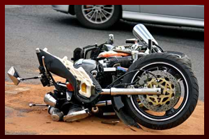 Motorcycle on the ground after an accident.