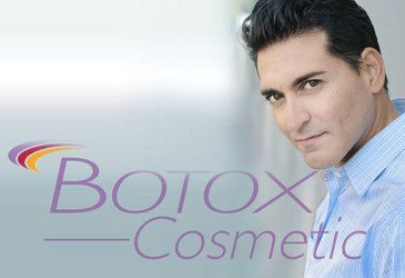 Botox cosmetic logo and dark-haired man