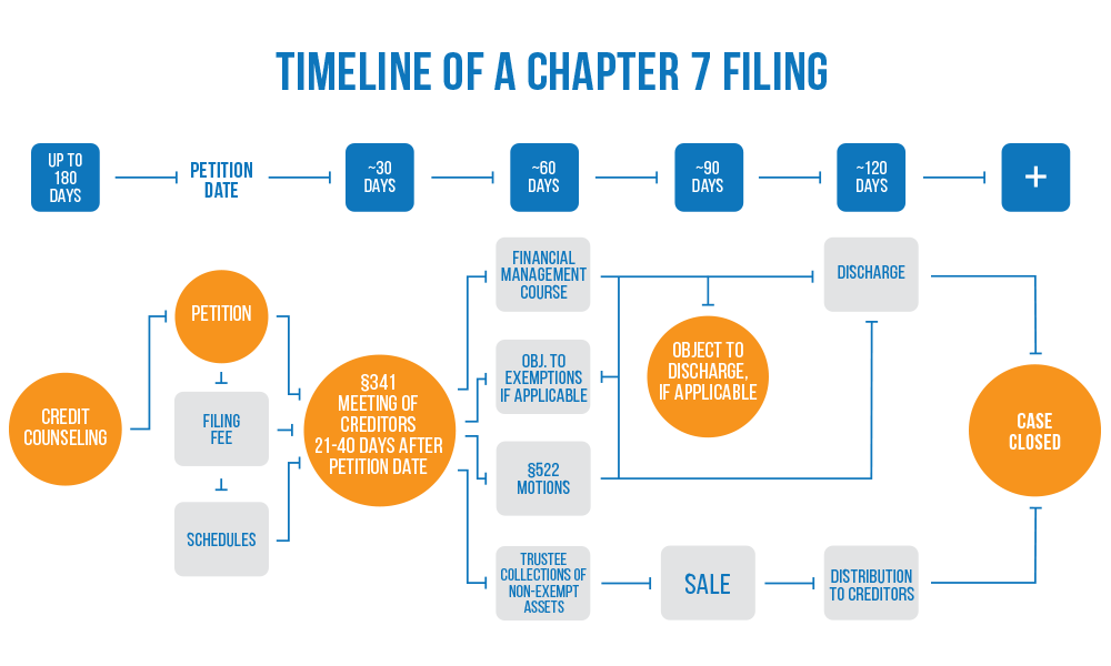 illustration of chapter 7 bankruptcy timeline