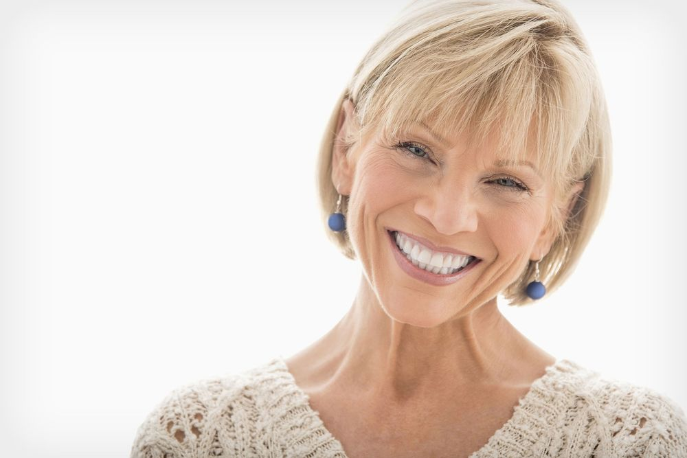 restorative dentistry on a blonde woman