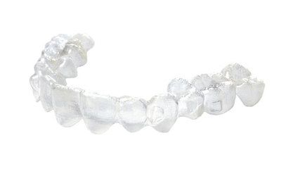 Isolated picture of Invisalign® clear plastic aligners