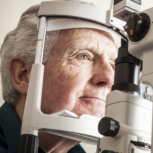 Photo of man getting an eye exam