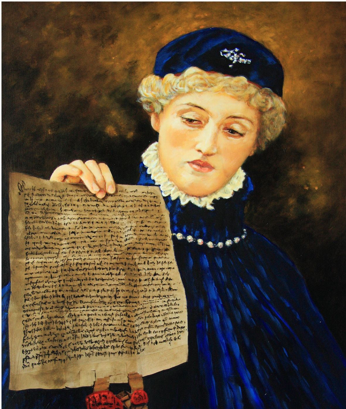 Painting of Portia, a character in The Merchant of Venice.