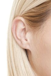 A woman with protruding ears