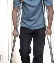 Man using crutches due to personal injury