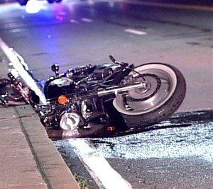 Photo of a crashed motorcycle