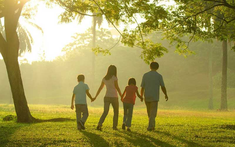 Photo of a family walking hand in hand through a park