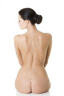Backside and side profile of model.
