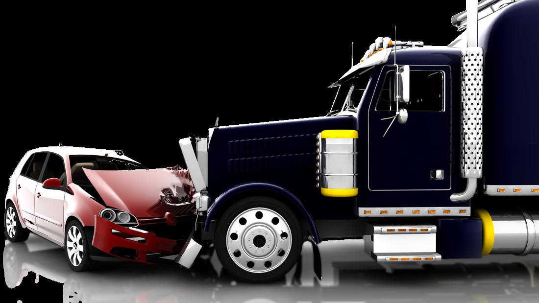 Semi truck crushing small car