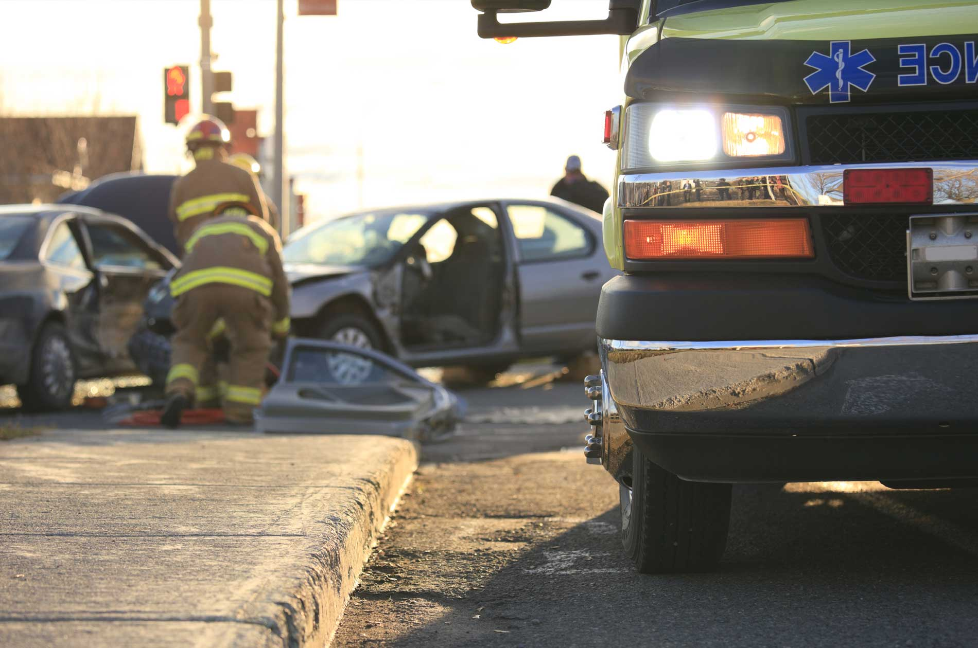 Emergency responders at the scene of an accident