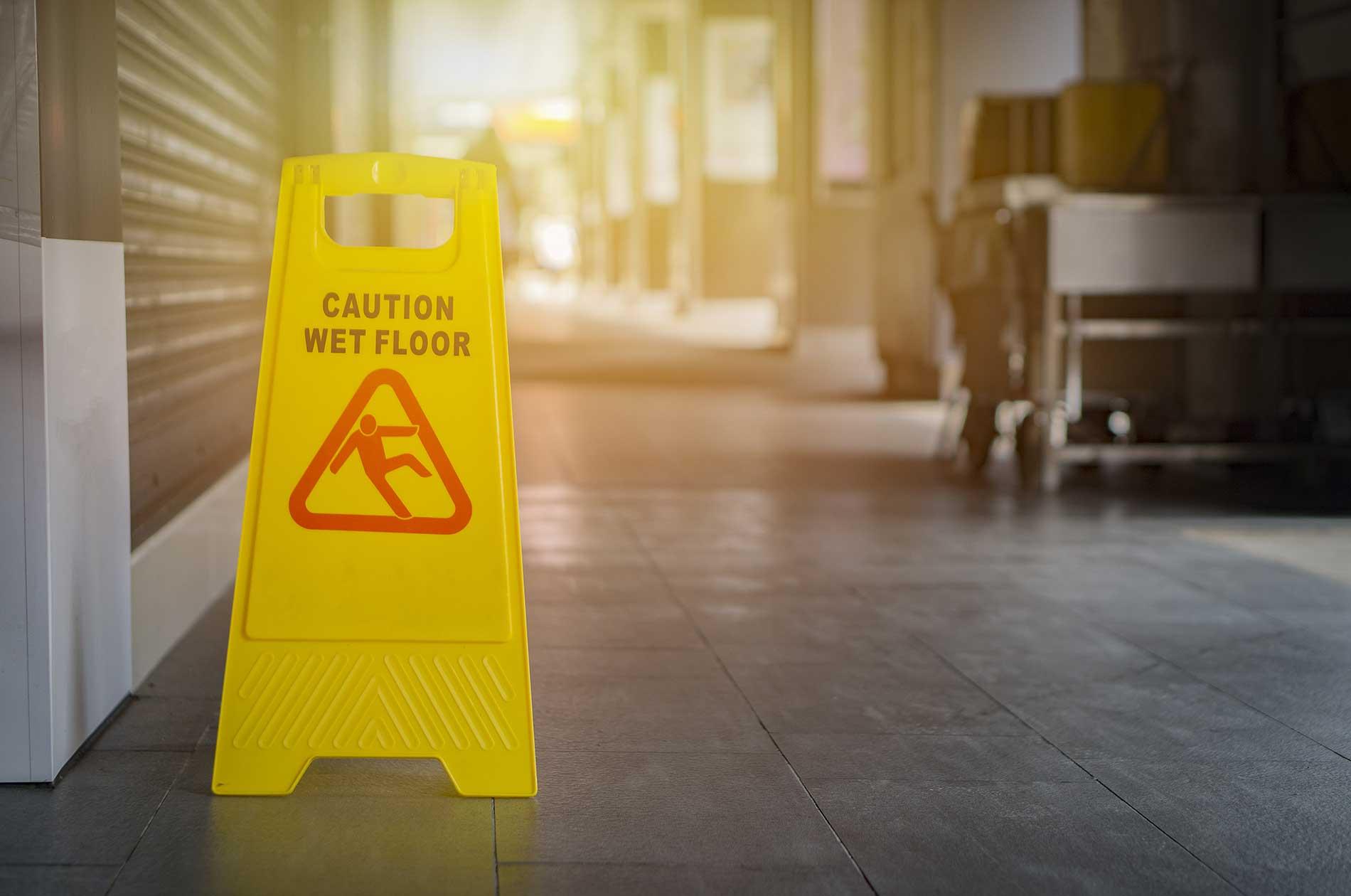 A wet floor sign