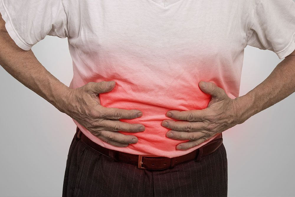 A man suffering from a bowel obstruction