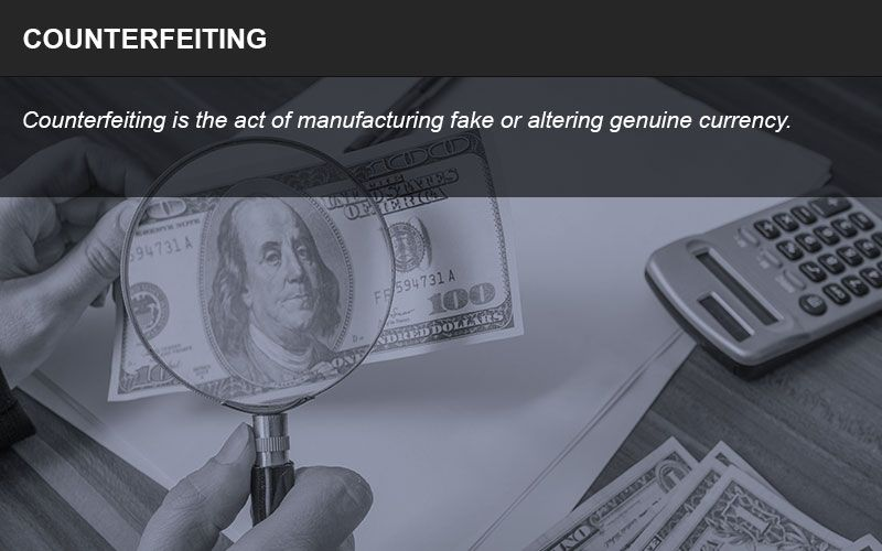 Counterfeiting is the act of creating fake currency