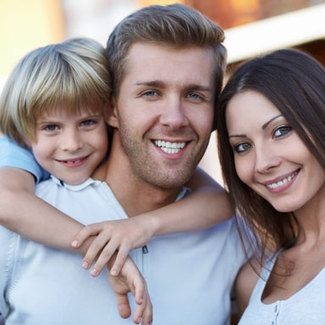 image of preventive dentistry and smiling family