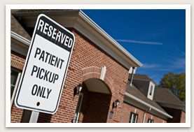 Reserved parking sign for patient pickup