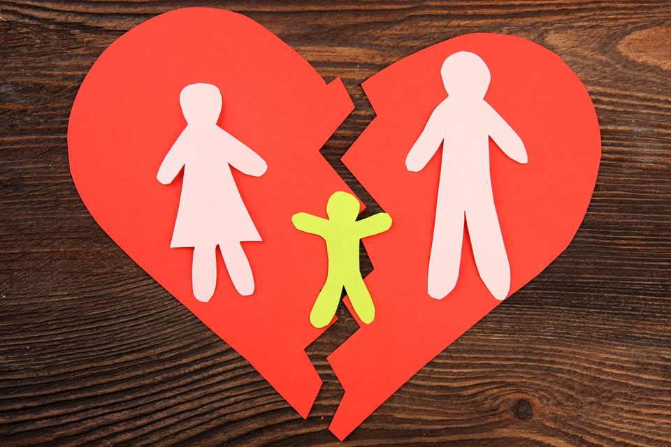 Construction paper heart and broken family