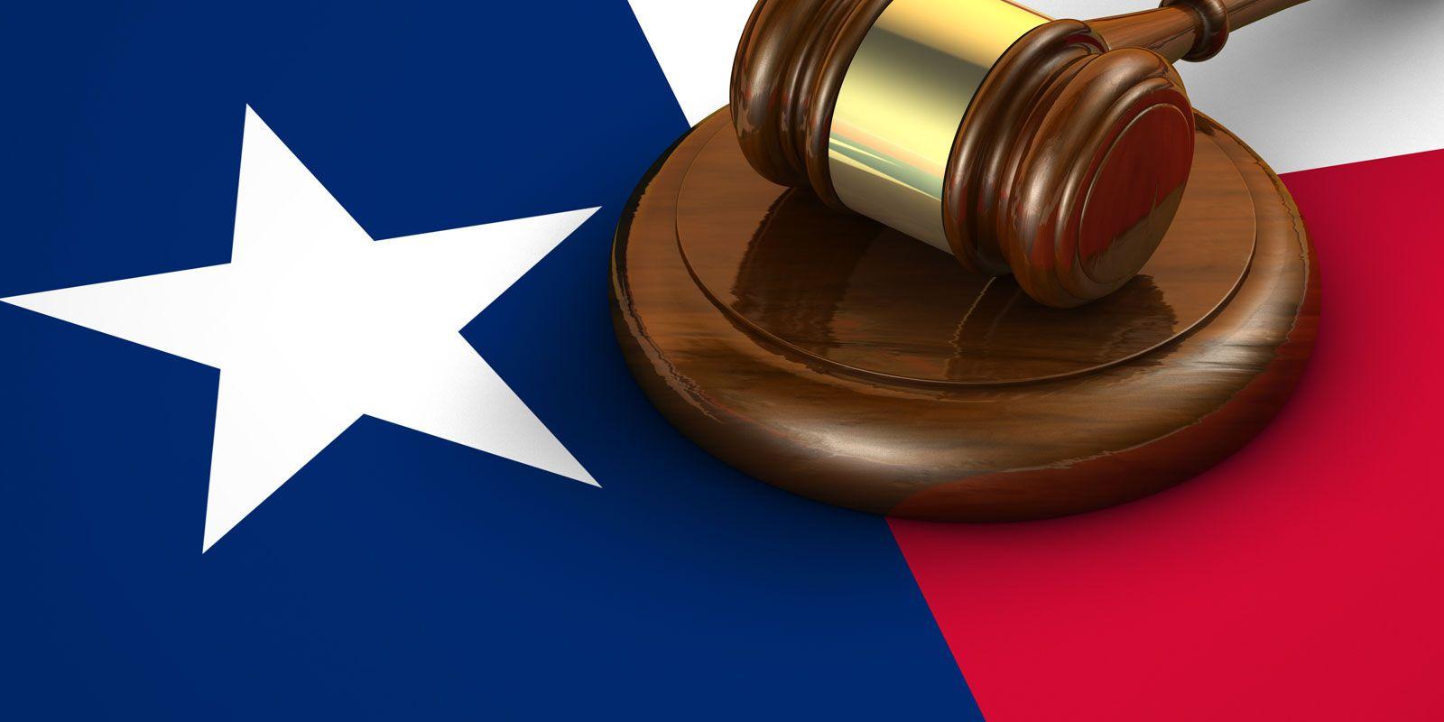 Gavel on Texas flag