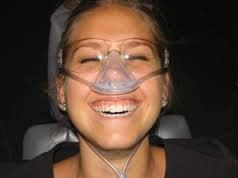 Photo of a patient receiving nitrous oxide