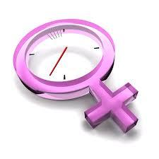 Female sign with clock