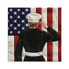 Military woman saluting flag