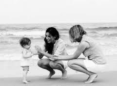 Lesbian couple with child on beach