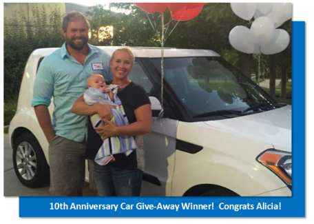 10th anniversary car giveaway winner, Alicia, and her family.