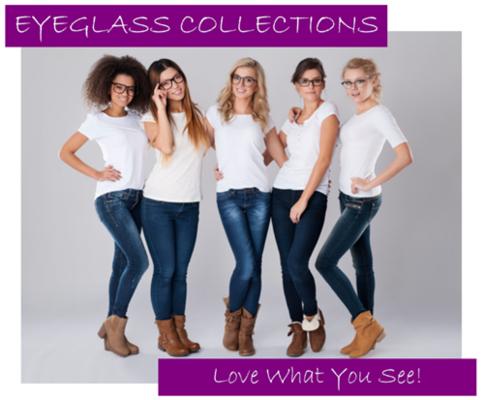 A group of women wearing stylish eyeglass frames.