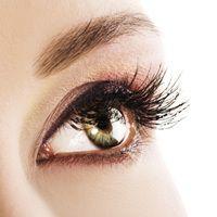 Una vista de cerca de un hermoso ojo verde con pestañas largas.