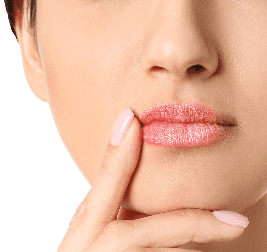 woman pointing to mouth