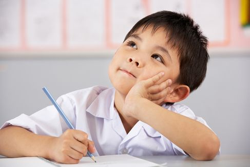 A young boy studying.