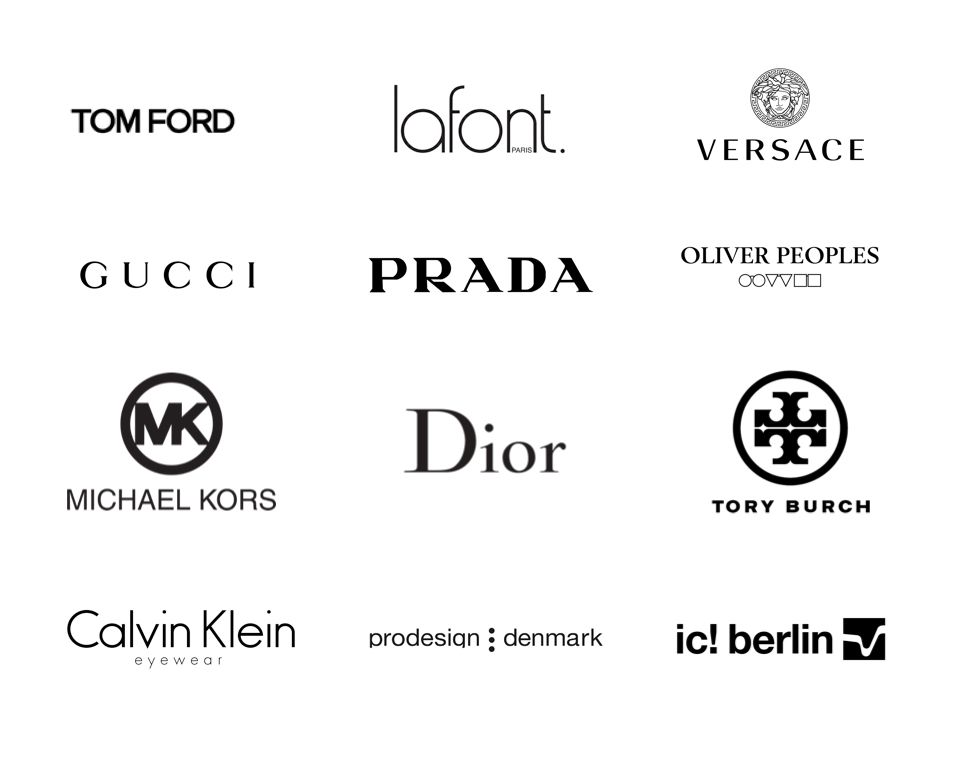 Logos for various brands of eyeglasses.