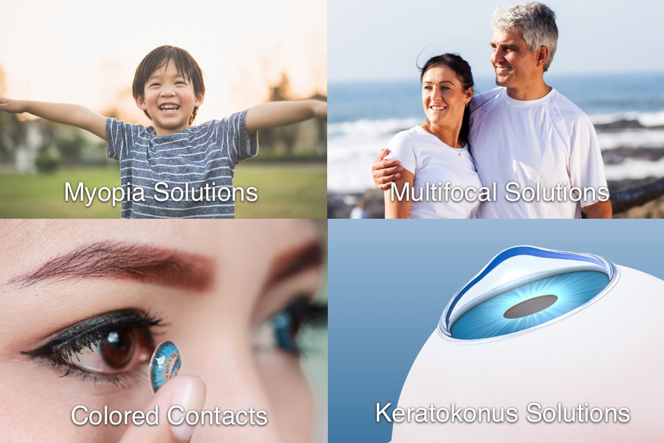 A smiling child, a middle-aged couple at the beach, a person inserting colored contacts, and an eye affected by keratoconus
