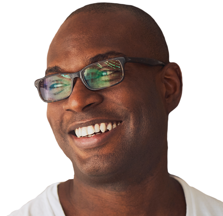Smiling man in glasses