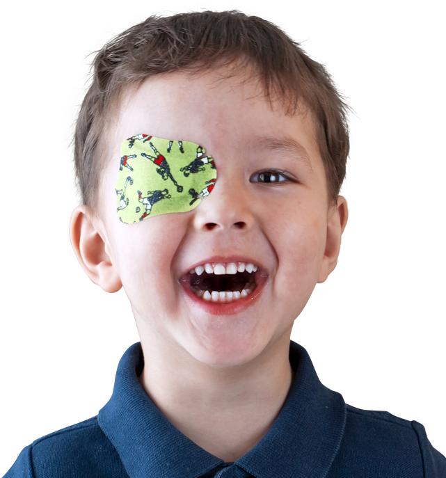 Smiling boy wearing eye patch