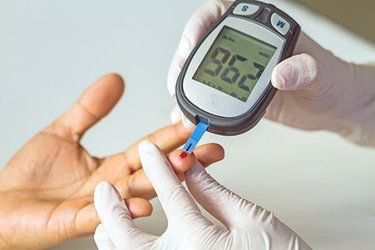 Patient having blood sugar checked