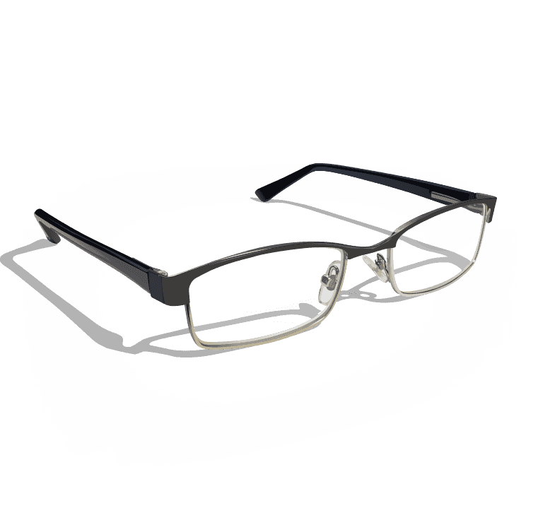 Digital illustration of glasses laying on plain black surface