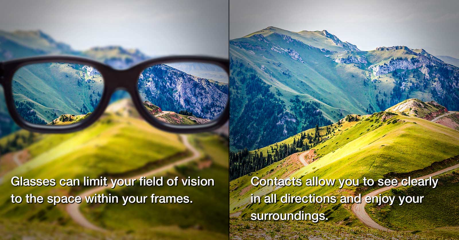 Comparison of vision with glasses and with contact lenses