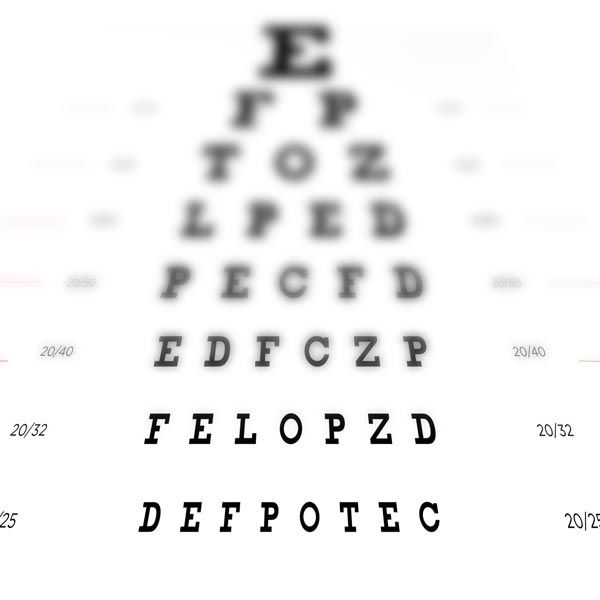 eye chart view with nearsightedness