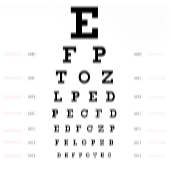 eye chart view with astigmatism