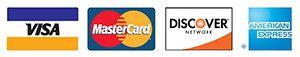 Visa®, Mastercard®, Discover®, and American Express® logos.