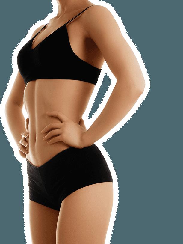 Slim woman's torso in black bra and underwear