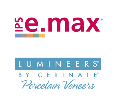 Logos for IPS e.max and Lumineers