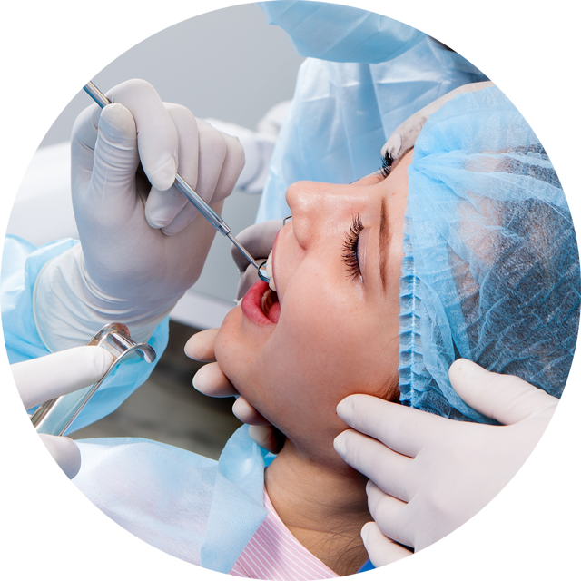 Young woman undergoing oral surgery