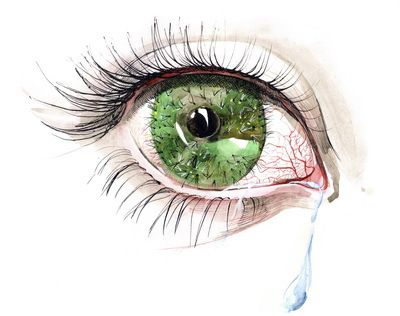 illustration of a watering green eye