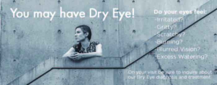 woman on cement stairs next to a list of dry eye symptoms
