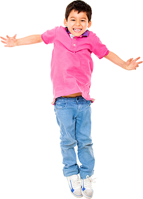 boy in mid-jump